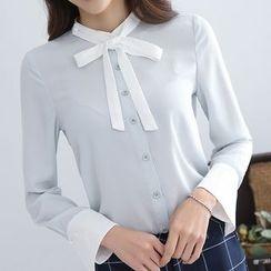 Falaso - 蝴蝶结雪纺衬衫