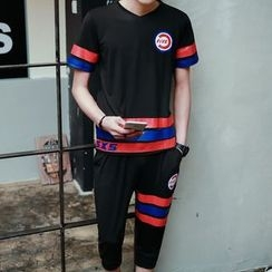 Danjieshi - Set: Stripe Short-Sleeve T-shirt + Jogger Pants