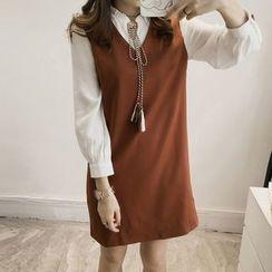Little V - Mock Two Piece Tie Neck Fill Collar Long Sleeve Dress