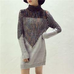 Octavia - Mélange Turtleneck Knit Dress