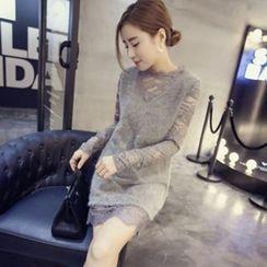 VIZZI - Lace Stitching Plush Dress