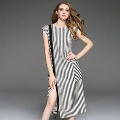Ozipan - Cap-Sleeve Paneled Striped Slit-Front Dress