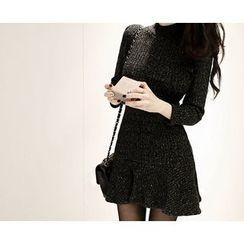 Marlangrouge - Mock-Neck Ruffle-Hem Knit Dress