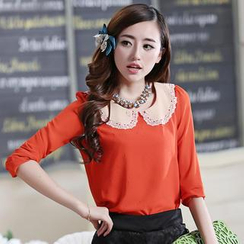 JVL - Layered-Collar Perforated Chiffon Blouse
