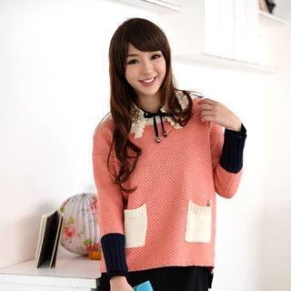 59 Seconds - Pocket Front Color-Block Sweater