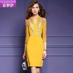 la nuit - 3/4-Sleeve Embroidered Sheath Dress