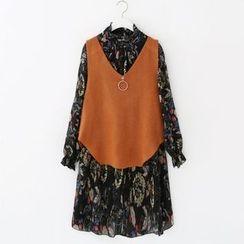 Meimei - Set: Floral Print Long Sleeve Chiffon Dress + Knit Vest