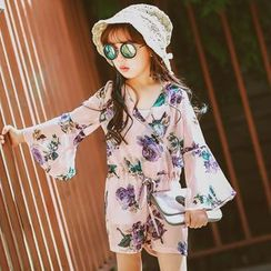 Lemony dudu - Kids Long-Sleeve Floral Playsuit