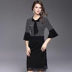 Ozipan - Elbow-Sleeve Paneled Striped Dress