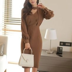 Aurora - Long-Sleeve Cutout Dress