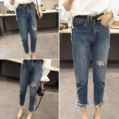 Lokin - Ripped Straight Cut Jeans