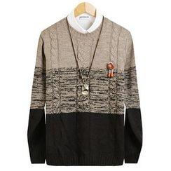 Seoul Homme - Color-Block Cable Knit Top