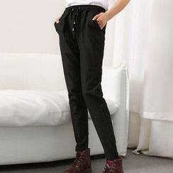 Tulander - Pinstriped Drawstring Jogger Pants