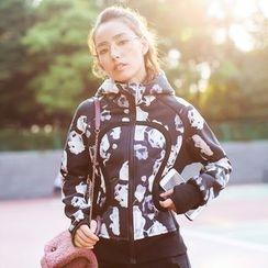 Sylphlike Loli - Floral Print Sport Hooded Jacket