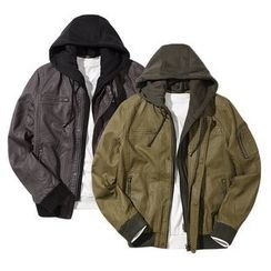 Seoul Homme - Detachable-Hood Faux-Leather Jacket