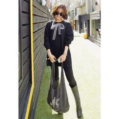 REDOPIN - Round-Neck Ribbon Print Long T-Shirt