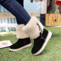 Pastel Pairs - Furry Trim Tasseled Boots