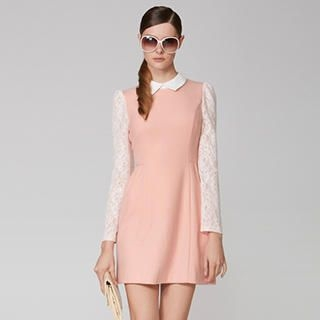 O.SA - Wool-Blend Lace-Sleeve Dress