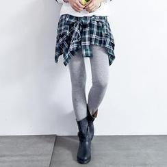 BAIMOMO - 連格紋短裙內搭褲