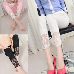 Oaksa - Lace Panel Leggings