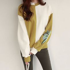 NIPONJJUYA - Color-Block Embroidered Cotton Sweatshirt