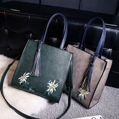 Rosanna Bags - Flower Embroidered Tasseled Shopper Bag