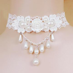 Fit-to-Kill - Lace Princess Pearls Tear Drops Necklace