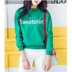 Sienne - Mock-Neck Lettering Sweatshirt