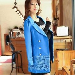 Flower Creek - Double-Breasted Lace-Hem Trench Coat