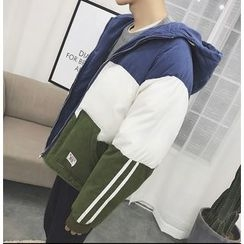 Bestrooy - Color Block Hooded Padded Jacket
