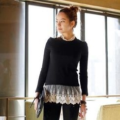 REDOPIN - Long-Sleeve Lace-Trim Ribbed Top