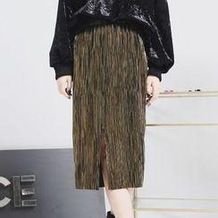Sonne - 金属色前开叉压褶半身裙