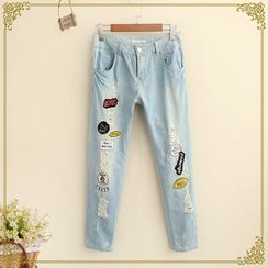 Fairyland - Applique Distressed Jeans