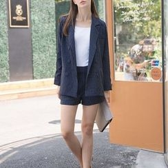 S. Tornado - Set: Striped Double-Breasted Blazer + Striped Shorts
