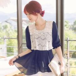 Tokyo Fashion - Elbow-Sleeve Lace-Panel Chiffon Top