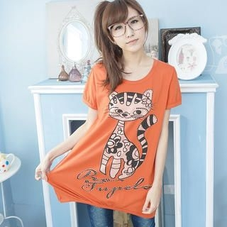 YoungBaby - Short-Sleeve Cat-Print T-Shirt Dress