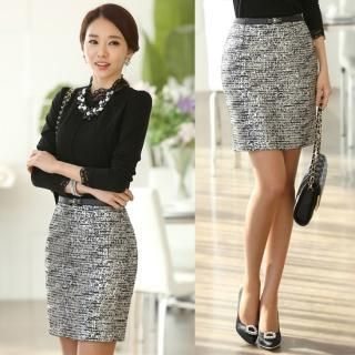 Styleonme - Glittered Tweed Pencil Skirt