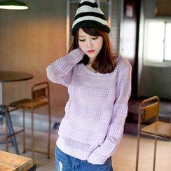 Tokyo Fashion - Crew-Neck Waffle-Knit Panel Sweater