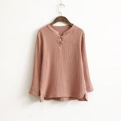 Ranche - Long Sleeve Mandarin Collar Blouse