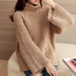 Ageha - Ribbed Turtleneck Bell-Sleeve Knit Top