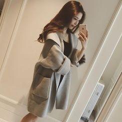 Velero - Plain Hooded Long Knit Coat