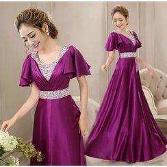 Bridal Workshop - Ruffle-Sleeve Embellished Waistline Evening Gown