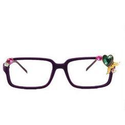 MIPENNA - 绿色宝石羽翼心心眼镜