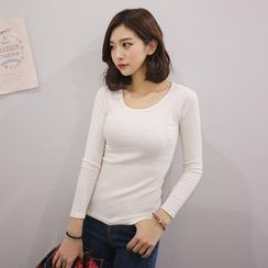 Envy Look - Scoop-Neck Ribbed T-Shirt