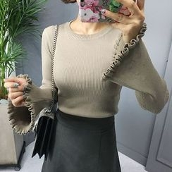 STYLEBYYAM - Frill-Trim Bell-Sleeve Knit Top