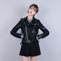 Vintage Vender - Faux-Leather Zip Rider Jacket
