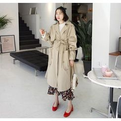 Miamasvin - Double-Breasted Trench Coat with Sash