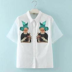 JVL - Short-Sleeve Cat-Print Chiffon Shirt
