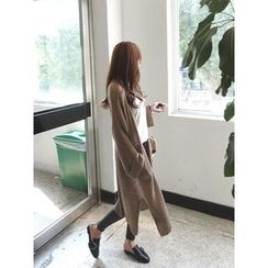 hellopeco - Slit-Side Open-Front Long Cardigan