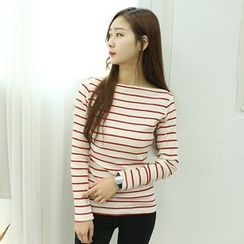 Dodostyle - Boat-Neck Stripe Ribbed Top